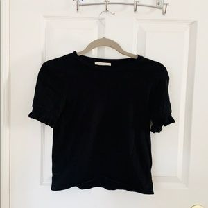 Zara Black Ruffle Short Sleeve Top